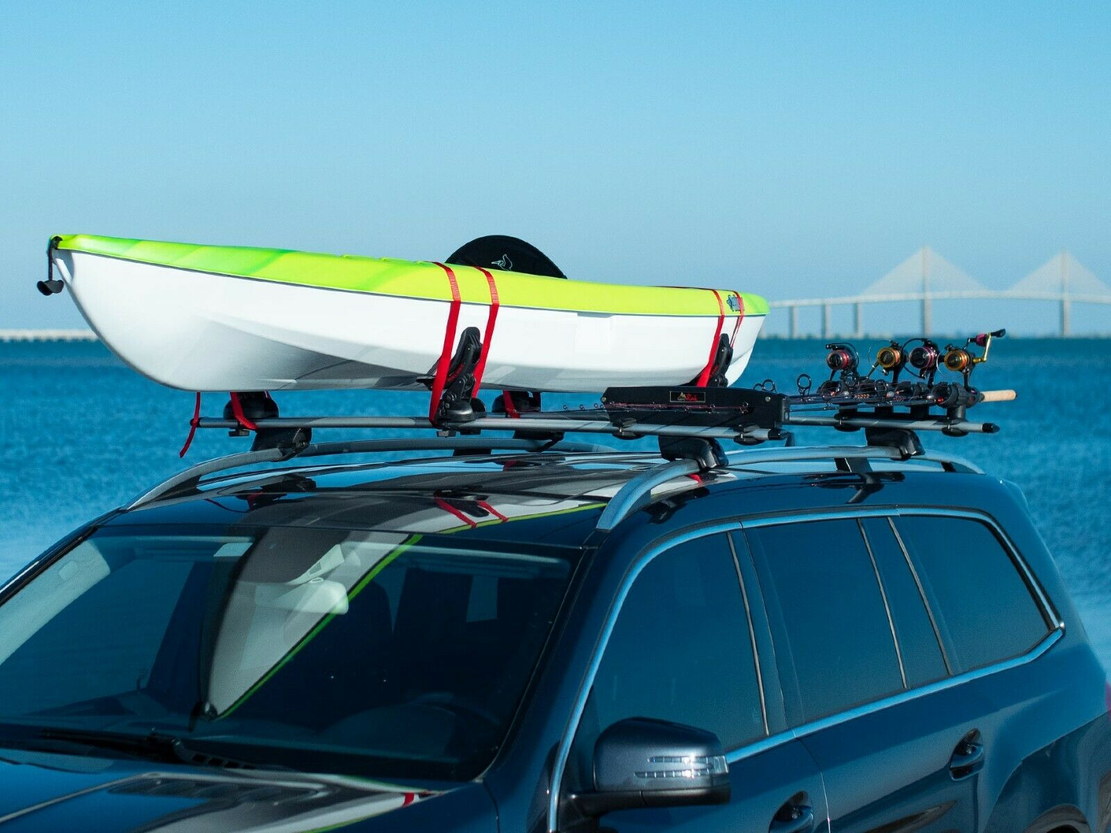 fishing rod roof rack car truck and suv holds up to 8 rods
