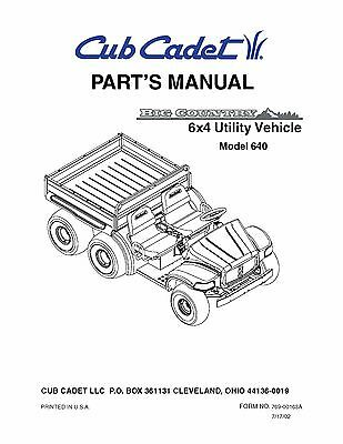 Cub Cadet Big Country 6x4 utility vehicle Parts Manual No