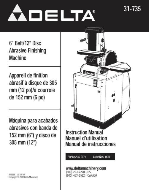 Delta Finishing Machine 31-735 Instruction Manual SPIRAL