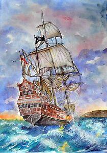 pirates landscape sea watercolor