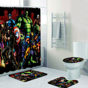 details about marvel avengers bathroom mats shower curtain 4pcs foot mat toilet lid cover rug