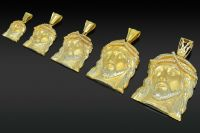 14K All Yellow Gold Mens Mini Micro Jesus Piece CZ Charm ...
