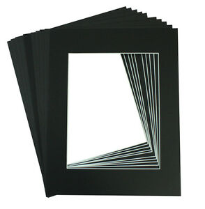 Set of 10 16x20 BLACK Picture Mats with White core for