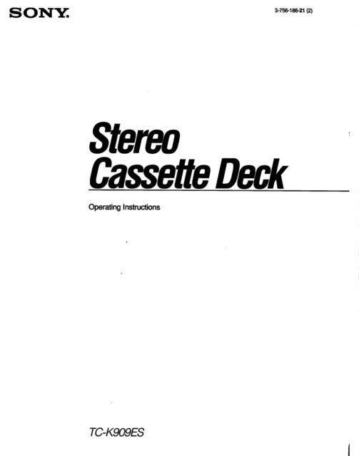 Sony TC-K909ES Stereo Cassette Deck OPERATING INSTRUCTIONS