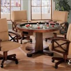 Poker Table Chairs With Casters Dining Room Chair Repair New 3 In1 Cherry Game W 4 Arm Set Details About Bumper Pool