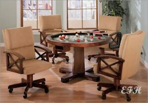 poker chairs with casters safety first wooden high chair new 3 in1 cherry game dining table w 4 arm set details about bumper pool