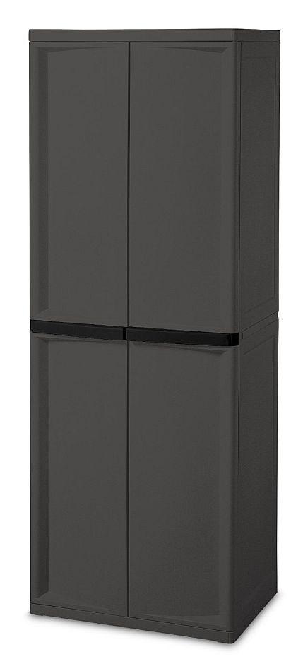 Large Utility Cabinet Storage Bin Pantry Tool Garage Hobby Food 4 Shelves Doors 2