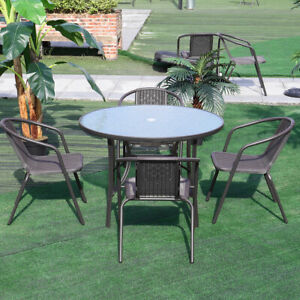 details about garden furniture patio set round table and stacking chairs parasol hole 4 seater