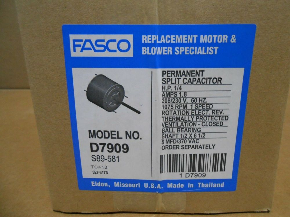 medium resolution of fasco d7909 ac air conditioner condenser fan motor 1 4 hp 1075 rpm 230 volts for sale online ebay