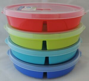 details about 4 microwave divided plates w vented lids food storage containers cover freeze