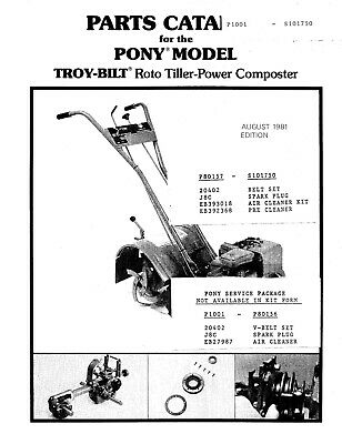 1976-1982 Troy Bilt PONY I & II TILLER PARTS MANUAL #
