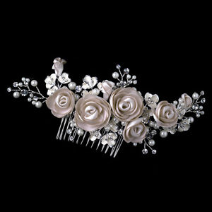 silver rum pink pearl rhinestone satin flower prom wedding bridal hair b ebay