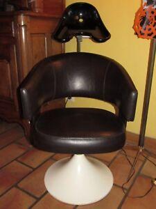 details sur 09e44 ancien fauteuil de coiffeur vintage 1960 design pied tulipe et simili cuir