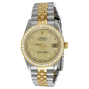 Rolex DateJust 18K Gold / TT 31mm Diamond Watch Dial 68273 Jubilee Band 1.15 CT.
