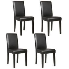 Set Of 4 Dining Chairs Chair For Vanity Table Kitchen Dinette Room Elegant Design Leather Backrest Item 5 Black