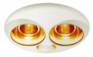 details about hpm 3 in 1 bathroom heat lamp light exhaust fan 2x275w 240v flush mount white