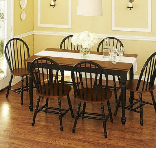 black farmhouse chairs lowes white plastic lounge dining set 7 piece table 6 windsor kitchen and brown ebay