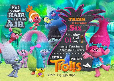 trolls invitation poppy party trolls birthday invite ebay