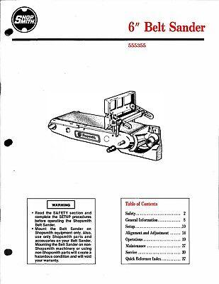 SHOPSMITH 6 inch Belt Sander 555355 Instruction Operator