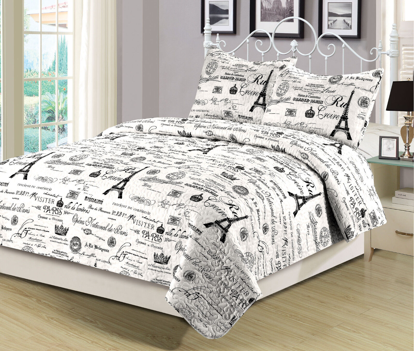 Twin Queen Or King Size Bedding Quilt Set Paris Eiffel Tower Black And White