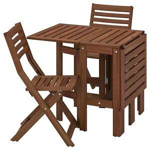 details sur ikea table pliante 2 chaises pliantes pour l exterieur braun jardin de terrasse