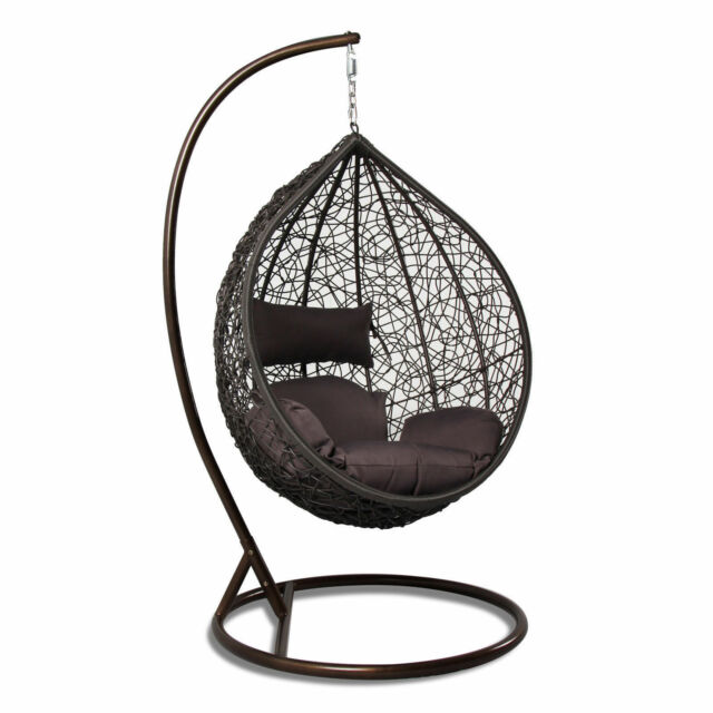 outdoor wicker swing chair white leather chairs dining hanging hammock heavy duty rattan egg tear drop shape new