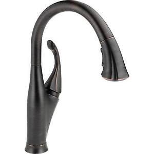 water efficient kitchen faucet vulcan delta single handle pull down in venetian bronze