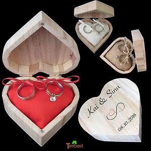 RINGBOX Ringkissen Vintage Hochzeit Holz Box Herz Ringe Eheringe Kstchen Halter  eBay