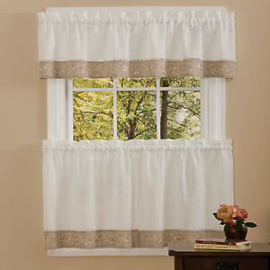 kitchen window valances used tables for sale oakwood linen style curtains tiers or valance natural image is loading
