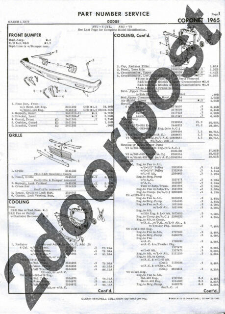 Collision part numbers for 1965 Dodge Coronet Mopar