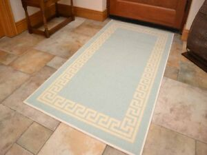 kitchen floor rugs 33x19 sink small large duck egg blue door hall runners rug anti image is loading