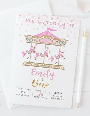 10 girls pink birthday party invitations carousel first second third any ebay