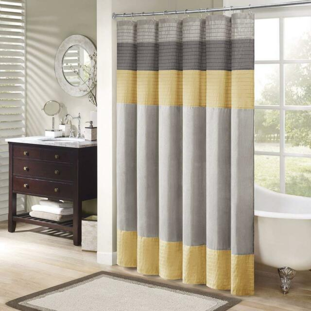 madison park mp70 2489 amherst shower curtain yellow grey 72x72