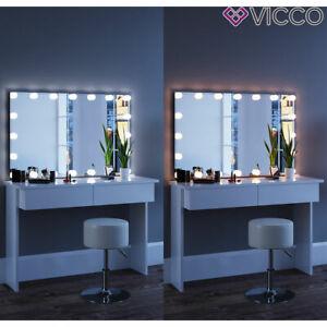 Vicco Table De Maquillage Azur Commode De Coiffeuse Led Blanc Tabouret Miroir Ebay
