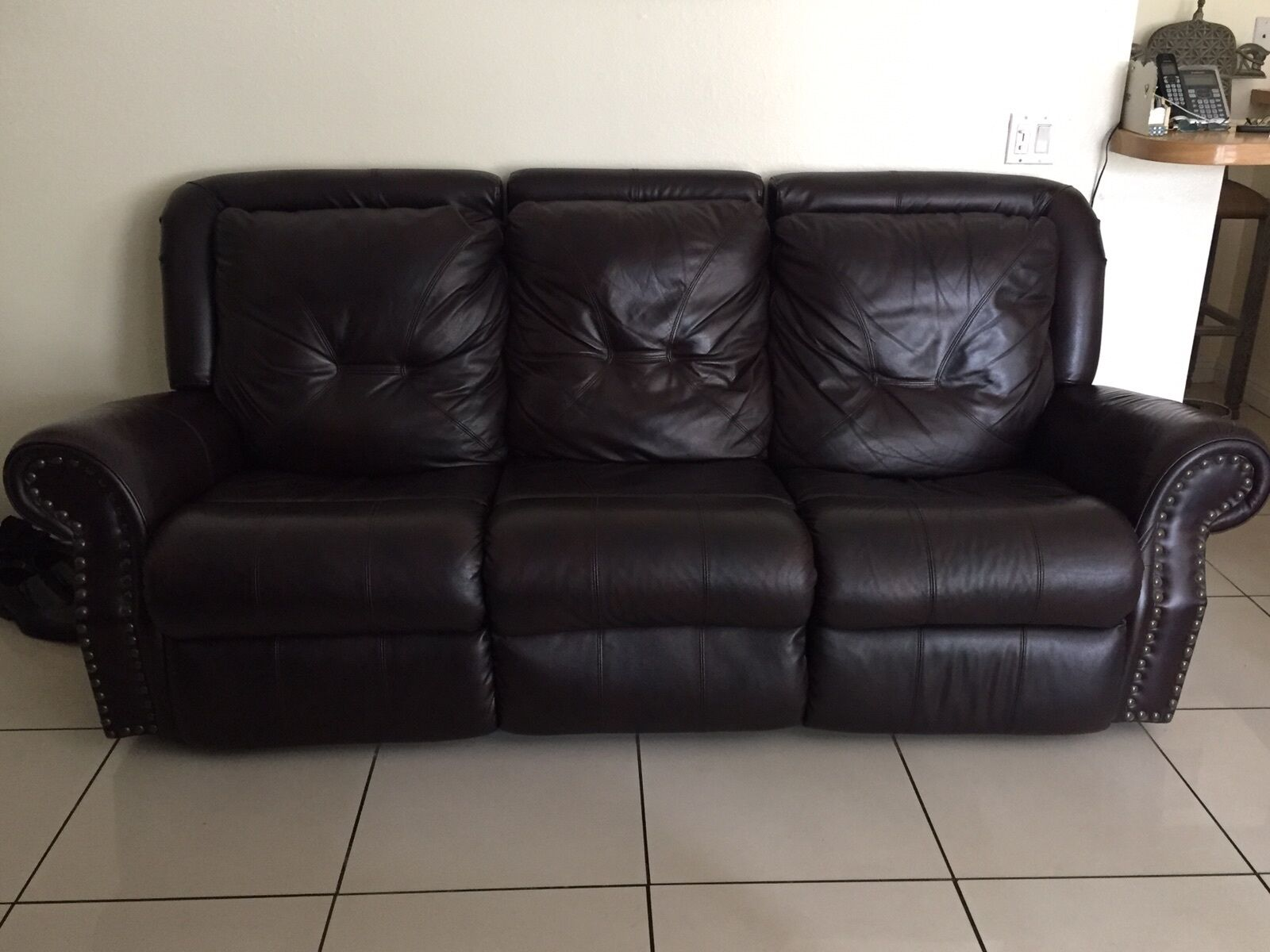 Dark Burgundy Brown Italian Leather Reclining Loveseat And Sofa Set No Chair