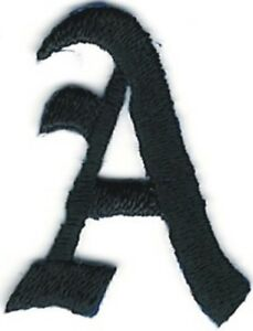 1 1 8 Fancy Black Old English Alphabet Letter A Embroidered Patch Ebay