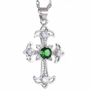 Melina Jewelry Melina Cross Cut Green Emerald Silver Tone