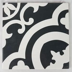 details about della torre cementina black and white glazed ceramic encaustic tile