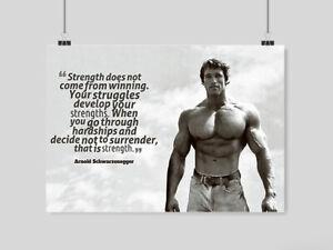 details about arnold schwarzenegger poster motivation quote conquer gym print a3 a4 size