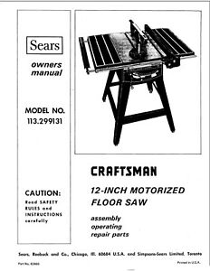 1973 Craftsman 12 inch Table Saw Manual Instructions No