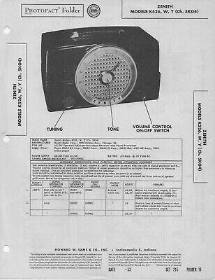 1953 ZENITH K526 RADIO SERVICE MANUAL PHOTOFACT SCHEMATIC