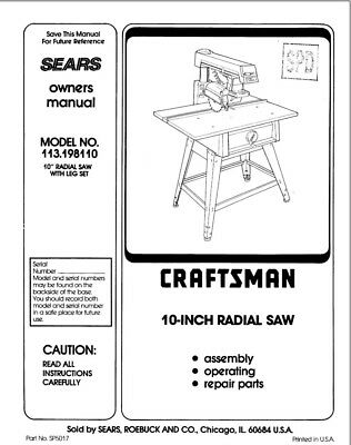 Craftsman 113.198110 Radial Saw Owners Instruction Manual