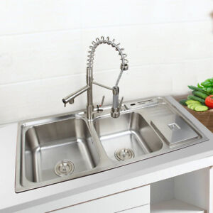 details about stainless steel kitchen sink vessel set with faucet double sinks kitchen sink