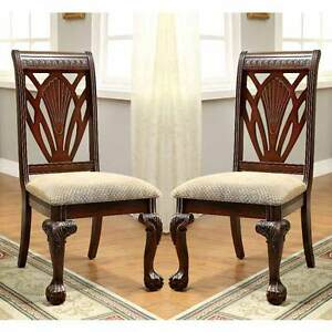 fabric side chairs inexpensive dining room chair covers petersburg 2 pc formal elegant curved claw image is loading