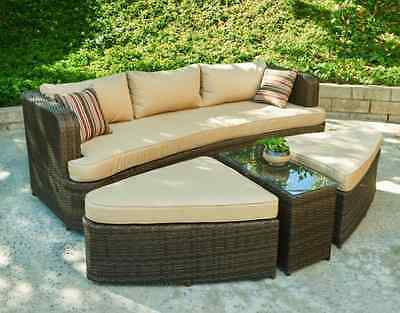 the hom amelia 4 piece wicker patio seating set dark brown with beige cushions