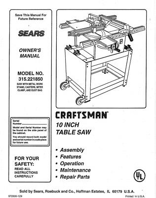 Craftsman 315.221850 Table Saw Owners Instruction Manual