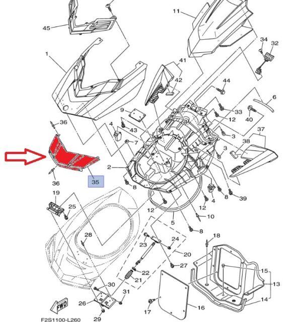 Yamaha Waverunner Genuine Bow Front Cover: F2S-U513M-01-P6