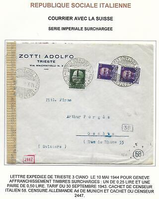 Tarif Lettre Pour La Suisse : tarif, lettre, suisse, Italy, Covers, Censored, FIRMcover, Triest, Geneve