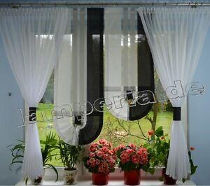 Fenster 140 cm Gardine Komplett Dekoration Wohnzimmer Wei Grau Schwarz 00559  eBay
