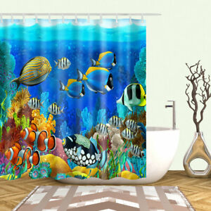 details about shower curtain set blue ocean tropical fish coral undersea world design curtains